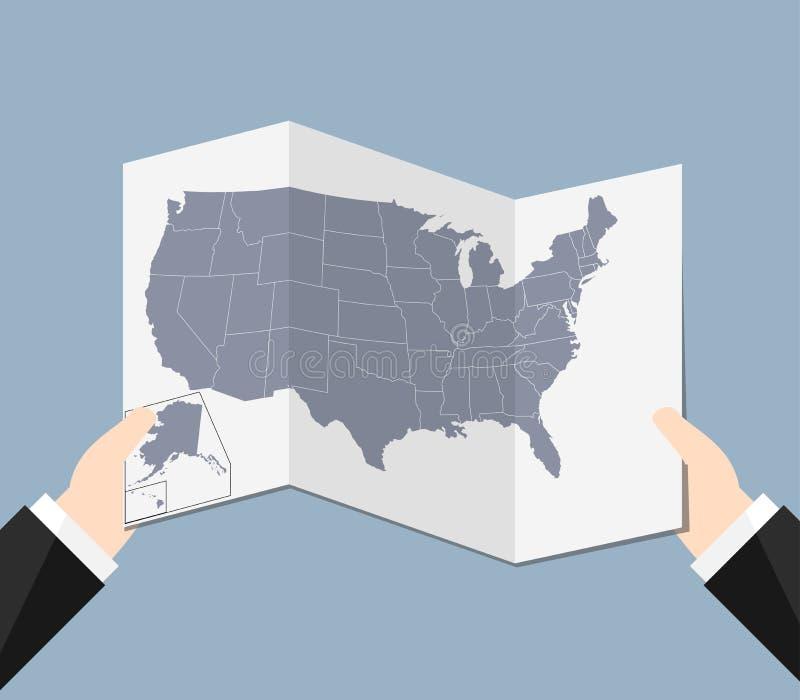 Un homme tenant une carte des Etats-Unis illustration stock