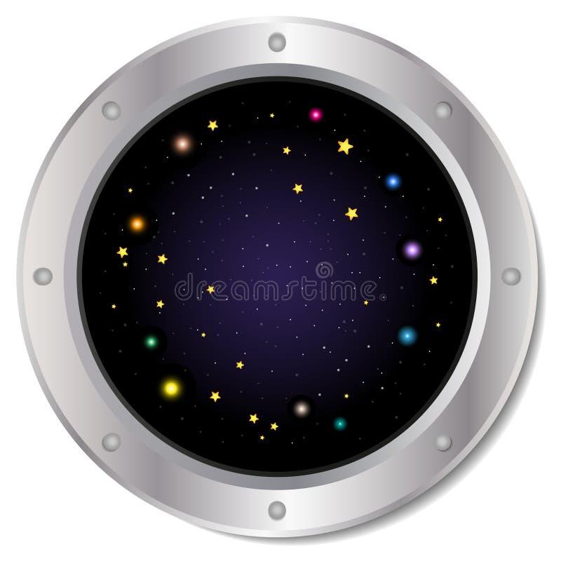 Un hublot argenté foncé de fenêtre de vaisseau spatial avec l'espace, le ciel bleu-foncé, et le vecteur coloré d'étoiles Illustra photo libre de droits