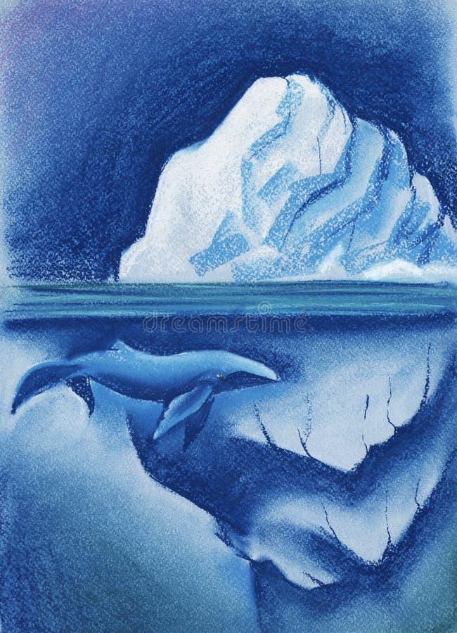 Un iceberg bianco enorme nel cielo notturno stellato artico balena blu Dipinto con pastello sull'illustrazione della carta illustrazione di stock