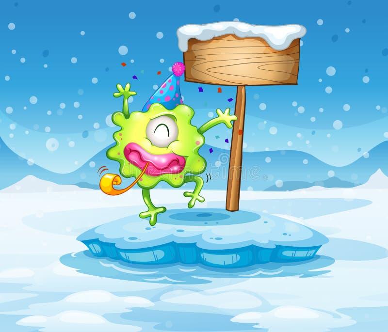 Un iceberg con il mostro felice vicino all'insegna vuota illustrazione di stock