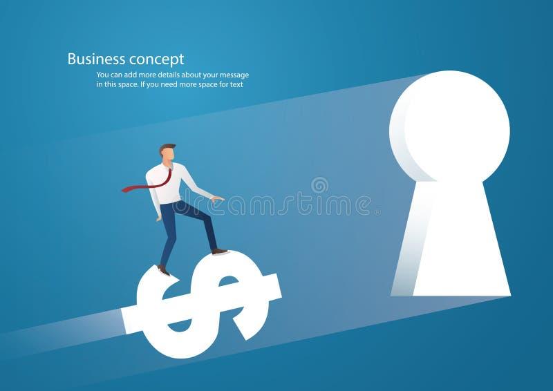 Un'icona del dollaro di giro dell'uomo d'affari nel buco della serratura illustrazione vettoriale