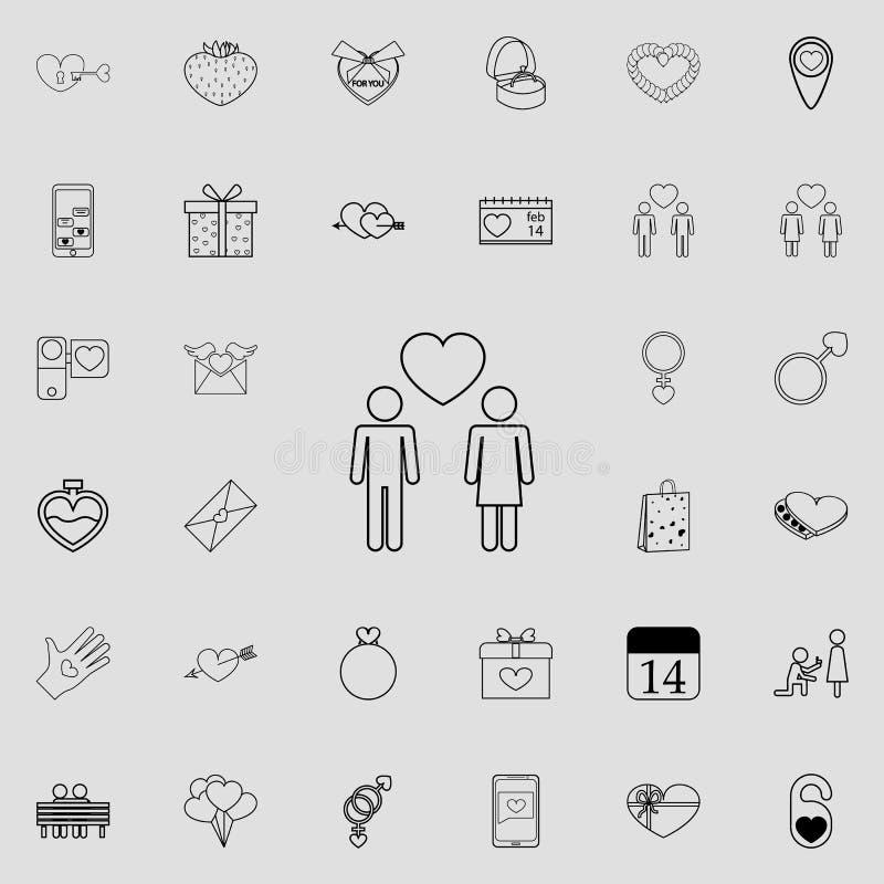un'icona di due amanti Insieme dettagliato delle icone del biglietto di S. Valentino Segno premio di progettazione grafica di qua illustrazione di stock