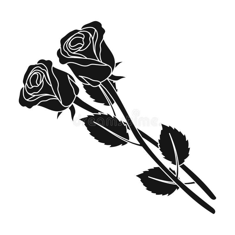Un'icona di due rose nello stile nero isolata su fondo bianco Illustrazione di vettore delle azione di simbolo di cerimonia funer illustrazione di stock
