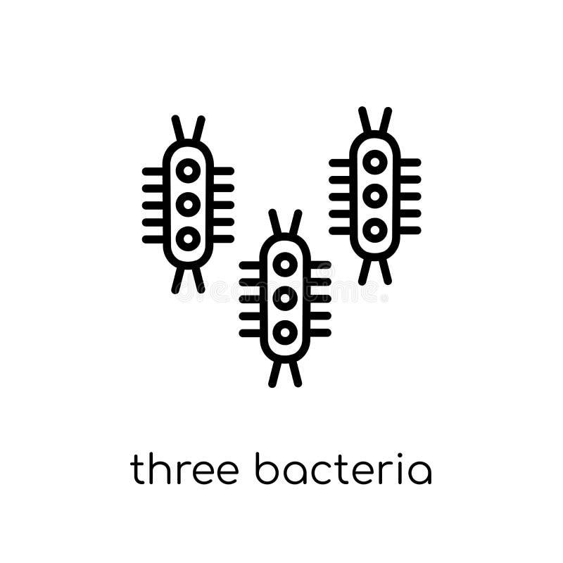 Un'icona di tre batteri Batt lineare piana moderna d'avanguardia di vettore tre illustrazione vettoriale