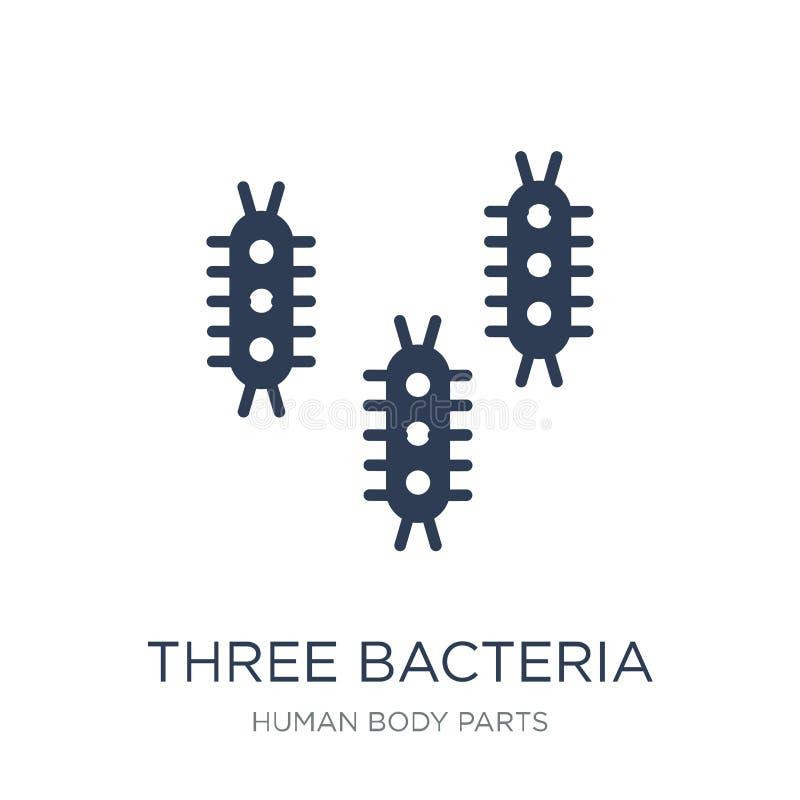Un'icona di tre batteri Icona piana d'avanguardia dei batteri di vettore tre su w royalty illustrazione gratis