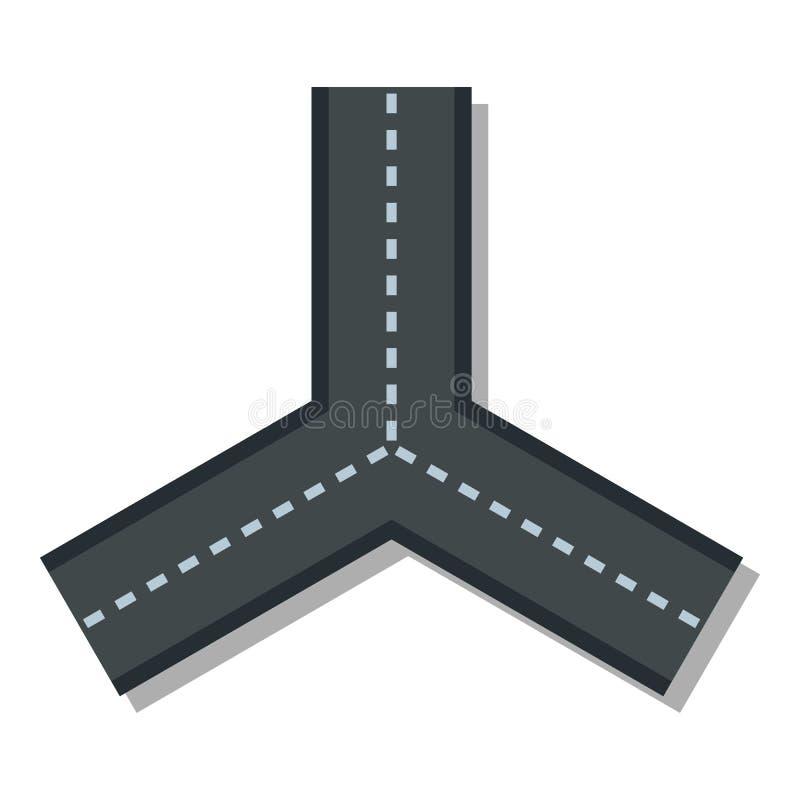Un'icona di tre strade, stile piano royalty illustrazione gratis