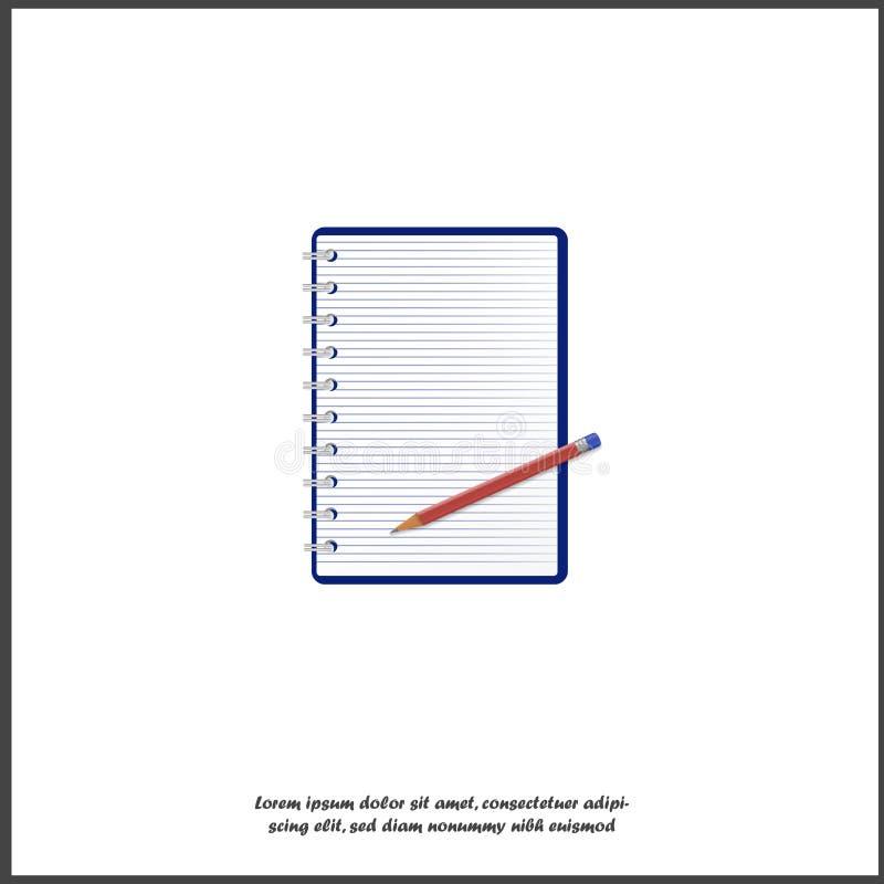Un'icona di vettore del blocco note aperto in una linea ed in una matita immagine realistica 3d per l'affare, istruzione, studio  royalty illustrazione gratis