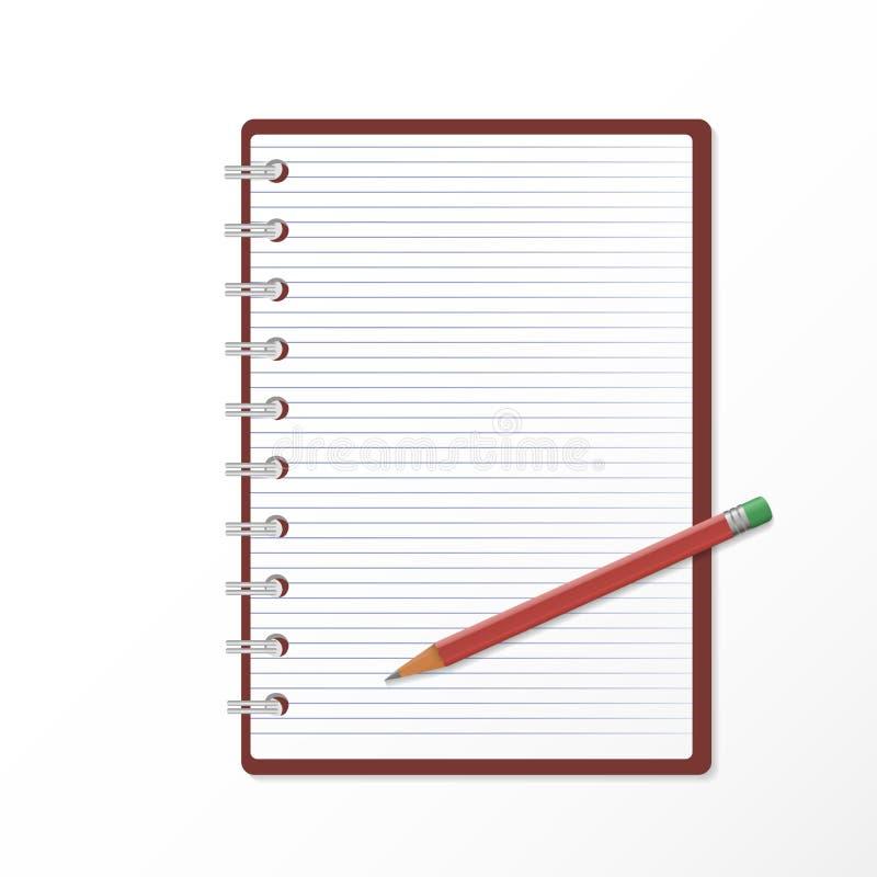 Un'icona di vettore del blocco note aperto in una linea ed in una matita realista 3D illustrazione di stock