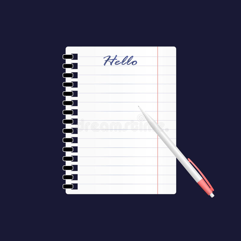 Un'icona di vettore di un foglio di carta vuoto in una linea ed in una penna L'iscrizione nel taccuino ciao immagine realistica 3 illustrazione di stock