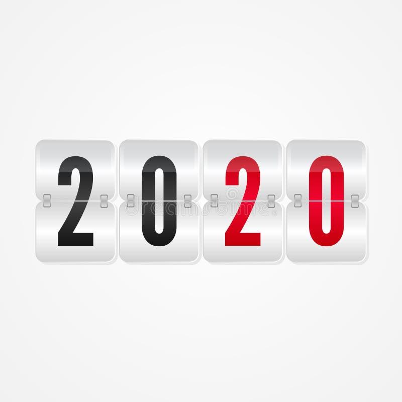 Un'icona isolata tabellone segnapunti da 2020 buoni anni Simbolo decorativo di vibrazione di vettore di vacanza invernale per la  illustrazione di stock