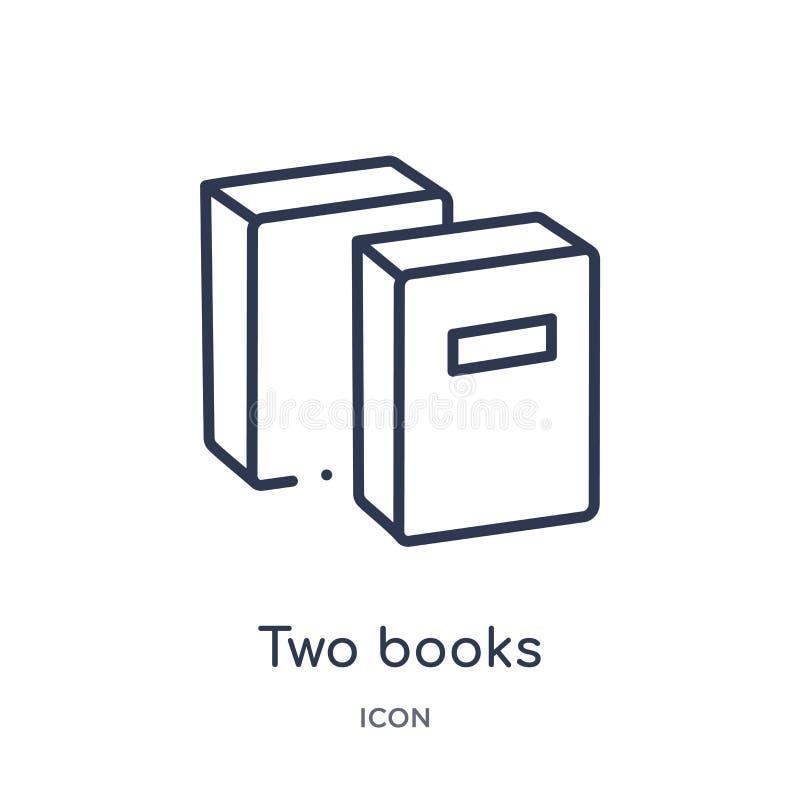 Un'icona lineare di due libri dalla raccolta del profilo di istruzione Linea sottile due icona dei libri isolata su fondo bianco  illustrazione di stock