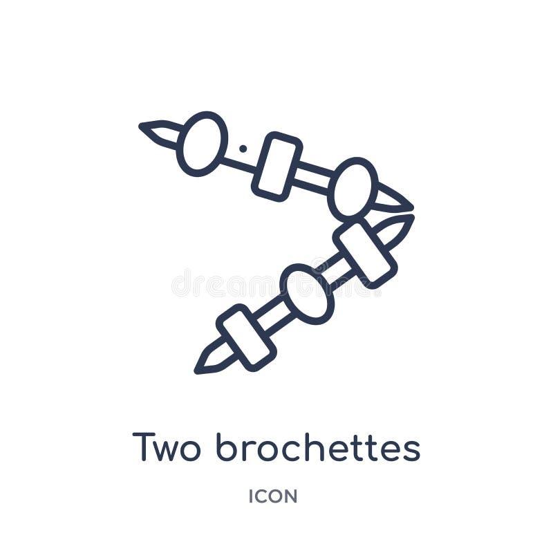 Un'icona lineare di due spiedi dalla raccolta del profilo del ristorante e dei bistrot Linea sottile due vettore di spiedi isolat illustrazione vettoriale
