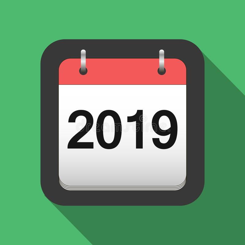 un'icona piana di 2019 calendari, 2019 regista la copertina nello stile piano, vettore di vigilia del ` s del nuovo anno royalty illustrazione gratis