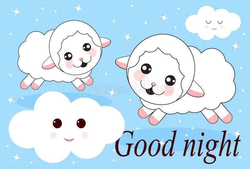 Un'icona sveglia di tiraggio della mano di due pecore juming Concetto di prova di dormire, contante le pecore, insonnia royalty illustrazione gratis