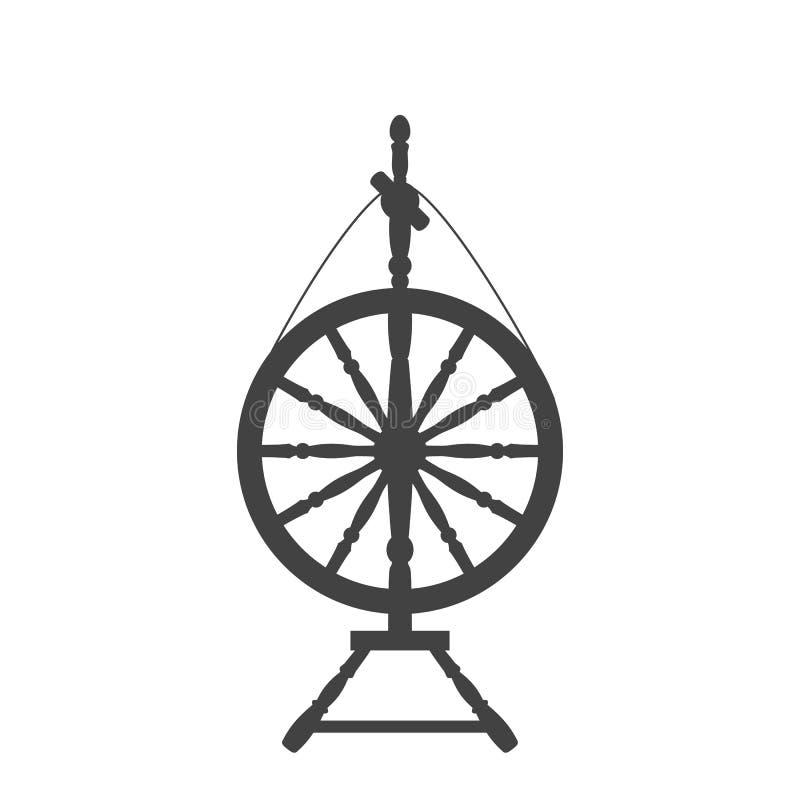 Un icono antiguo de la rueda de hilado ilustración del vector