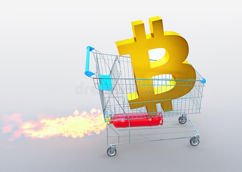Un icono de oro en la carretilla con el cohete, concepto de las subidas del precio, del bitcoin ejemplo 3D ilustración del vector