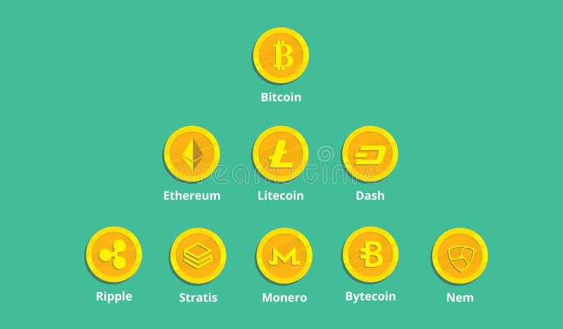 Un icono del logotipo de la opción del cryptocurrency con el dinero de la moneda de oro ilustración del vector
