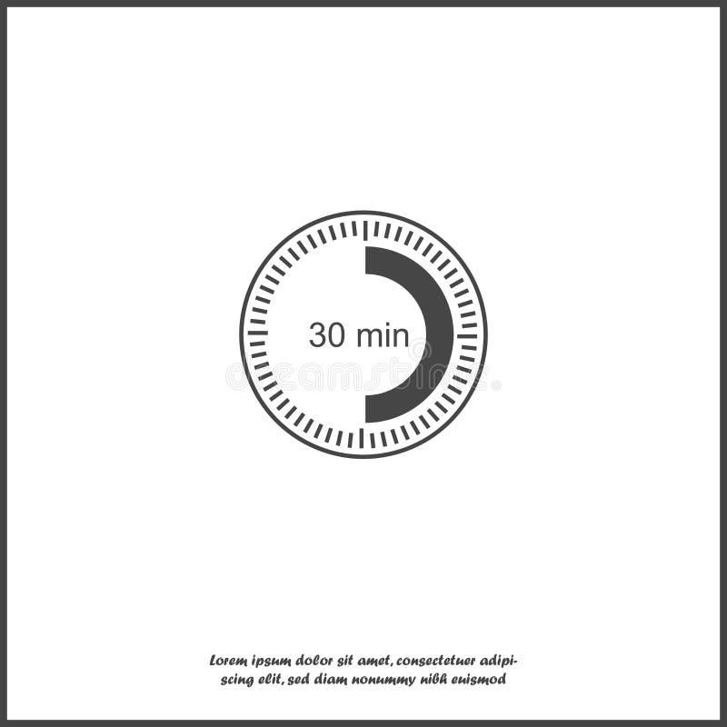 Un icono del reloj que indica un intervalo de tiempo de 30 minutos treinta minutos en el reloj stock de ilustración