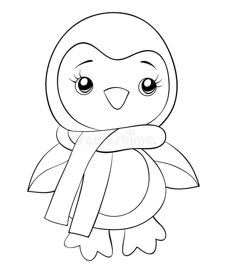 Un icono lindo del pingüino, ejemplo blanco y negro Diseño de concepto, cartel ilustración del vector