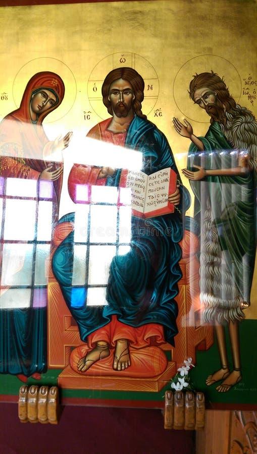 Un icono ortodoxo griego único imagenes de archivo