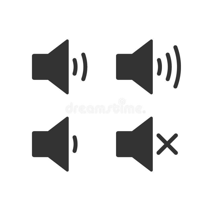 Un icono que aumenta y reduce el sonido Icono que muestra al mudo Un sistema de iconos de los sonidos con diversos niveles de señ ilustración del vector