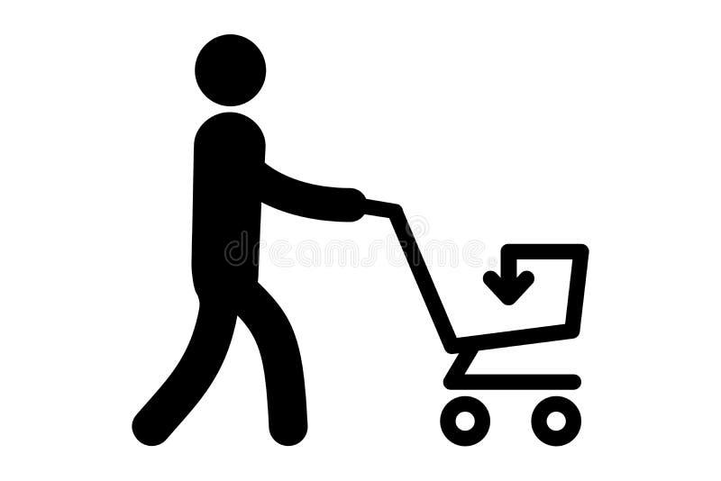 Un icono simple de un hombre con el carro libre illustration