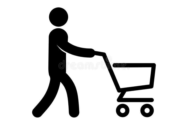Un icono simple de un hombre con el carro stock de ilustración