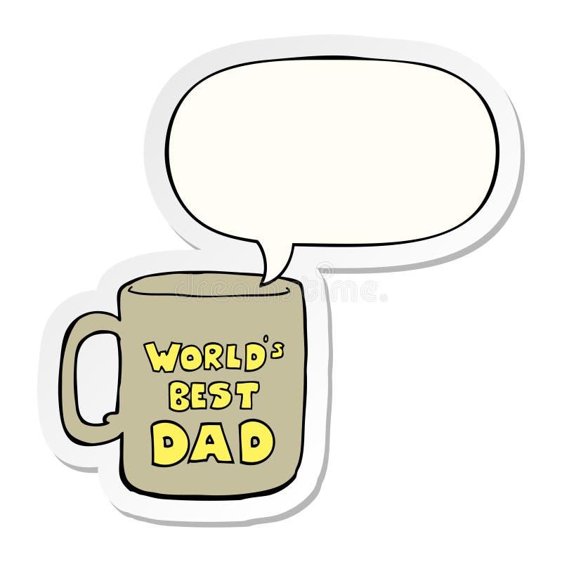 Un il migliore autoadesivo della tazza e del fumetto del papà dei mondi creativi illustrazione vettoriale