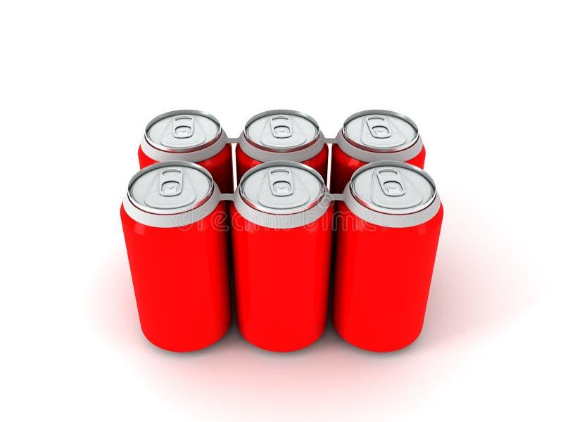 un'illustrazione 3d di sei latte di alluminio rosse fotografie stock