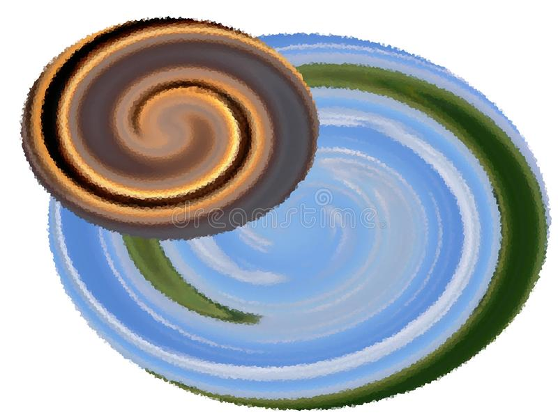 Un'illustrazione astratta di due pianeti, computer grafica, disegnante illustrazione di stock