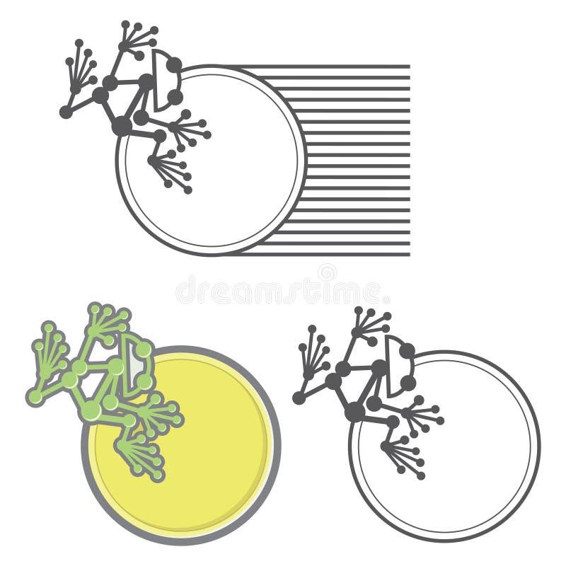 Un'illustrazione che consiste di tre immagini sotto forma di rana immagini stock libere da diritti