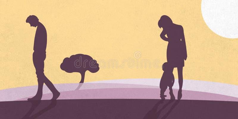 Un'illustrazione che mostra una famiglia che sta separando Un padre va tristemente a partire dalla madre e dal bambino illustrazione di stock