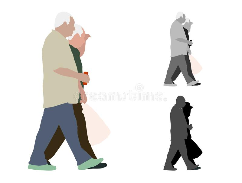 Un'illustrazione colorata realistica di due uomini anziani di camminata illustrazione di stock