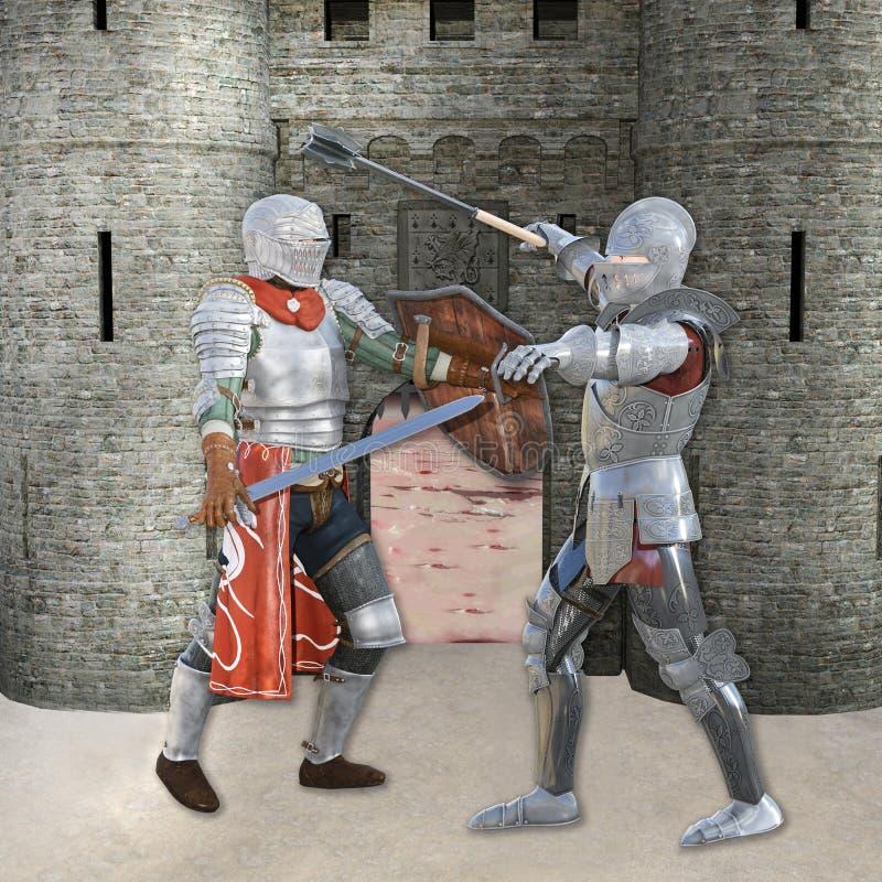 un'illustrazione 3D di due cavalieri medievali nella battaglia davanti al castello royalty illustrazione gratis