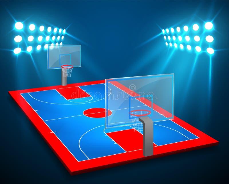 Un'illustrazione del campo dell'arena di pallacanestro di prospettiva con le luci luminose dello stadio progetta Vettore ENV 10 S illustrazione di stock