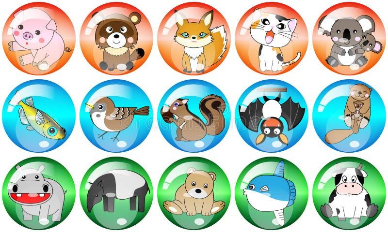 Un'illustrazione del vento del bottone e dell'icona di 15 generi di animale, di pollo e di pesce royalty illustrazione gratis