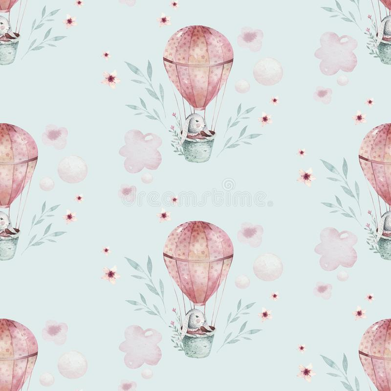 Un'illustrazione della molla dell'acquerello del coniglietto sveglio del bambino di pasqua Modello rosa senza cuciture animale de illustrazione vettoriale