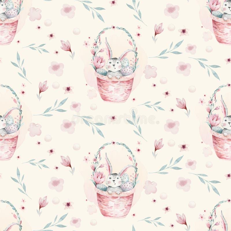 Un'illustrazione della molla dell'acquerello del coniglietto sveglio del bambino di pasqua Modello rosa senza cuciture animale de illustrazione di stock