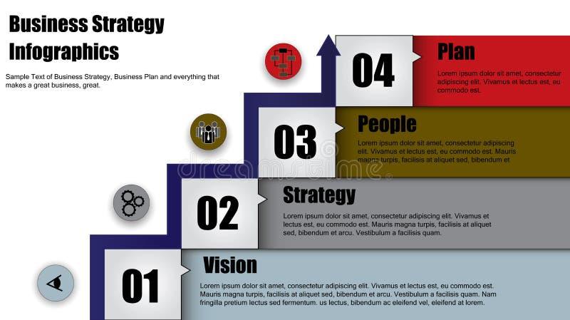 L'illustrazione di concetto di riuscita strategia aziendale fa un passo con la freccia illustrazione vettoriale