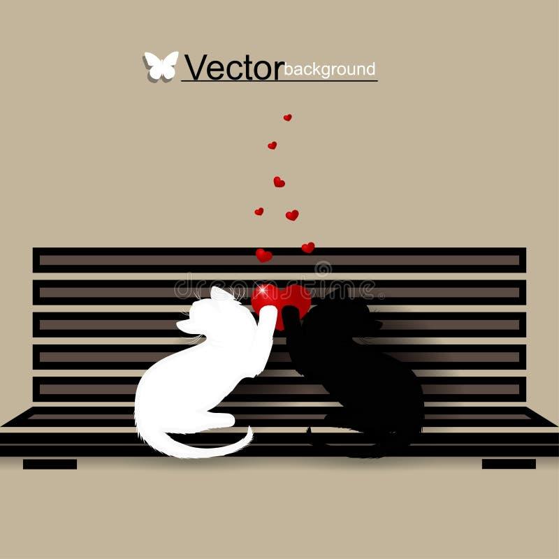 Un'illustrazione di due gatti amorosi fotografia stock