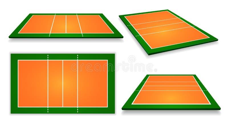 Un'illustrazione di un insieme della corte di pallavolo di vista aerea Vettore ENV 10 illustrazione di stock
