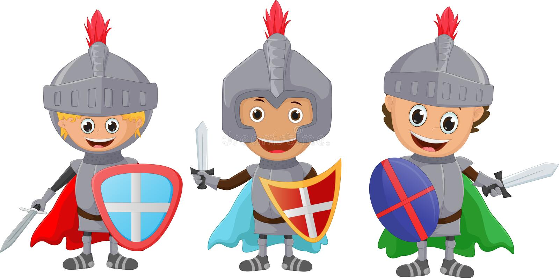 Un'illustrazione di piccolo cavaliere tre isolato su bianco illustrazione di stock