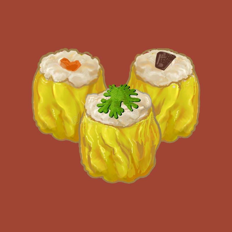 Un'illustrazione di tre gnocchi di stile cinese illustrazione di stock