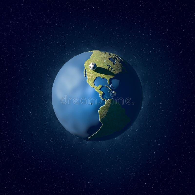 Un'illustrazione di un'erba e di un pianeta ricoperto d'acqua fotografia stock libera da diritti
