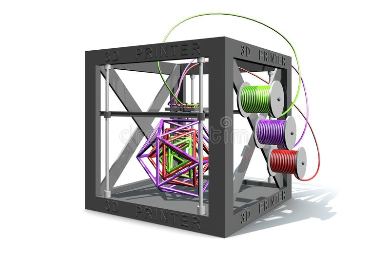 Un'illustrazione di una stampante 3D che stampa le forme geomtric complesse illustrazione di stock