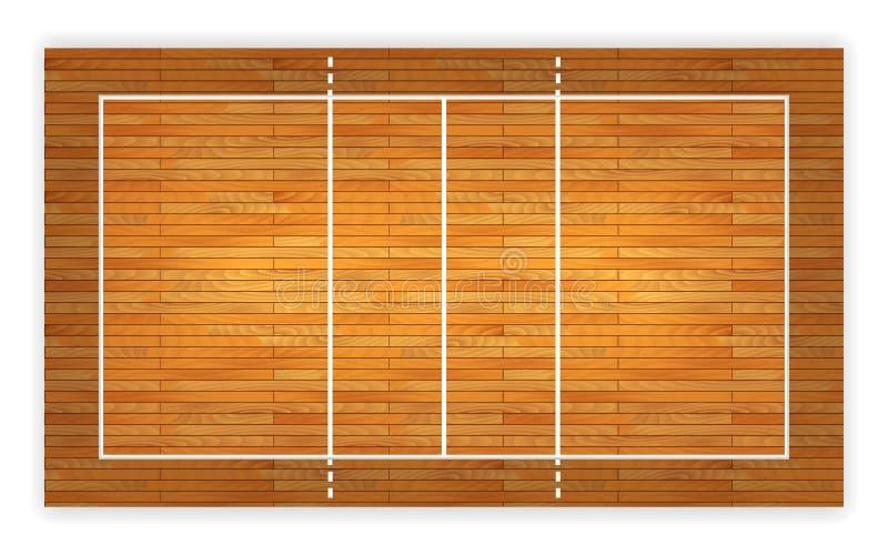 Un'illustrazione di una vista aerea di una corte di pallavolo del legno duro Vettore ENV 10 royalty illustrazione gratis