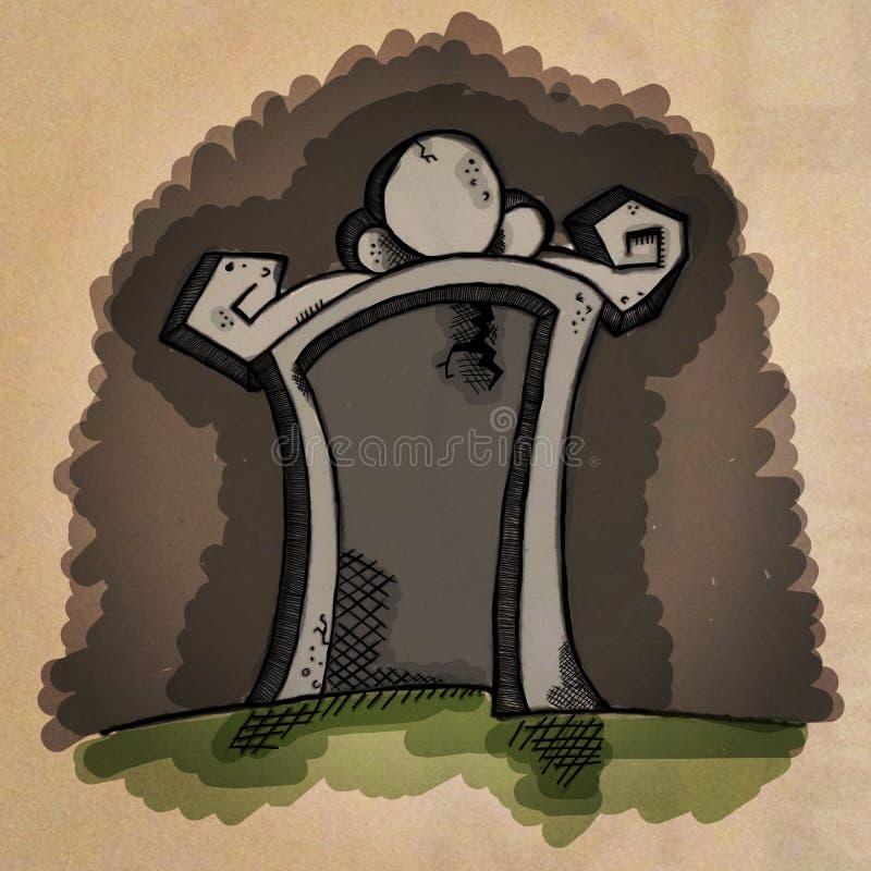 Soppressione la pietra tombale del fumetto illustrazione di stock