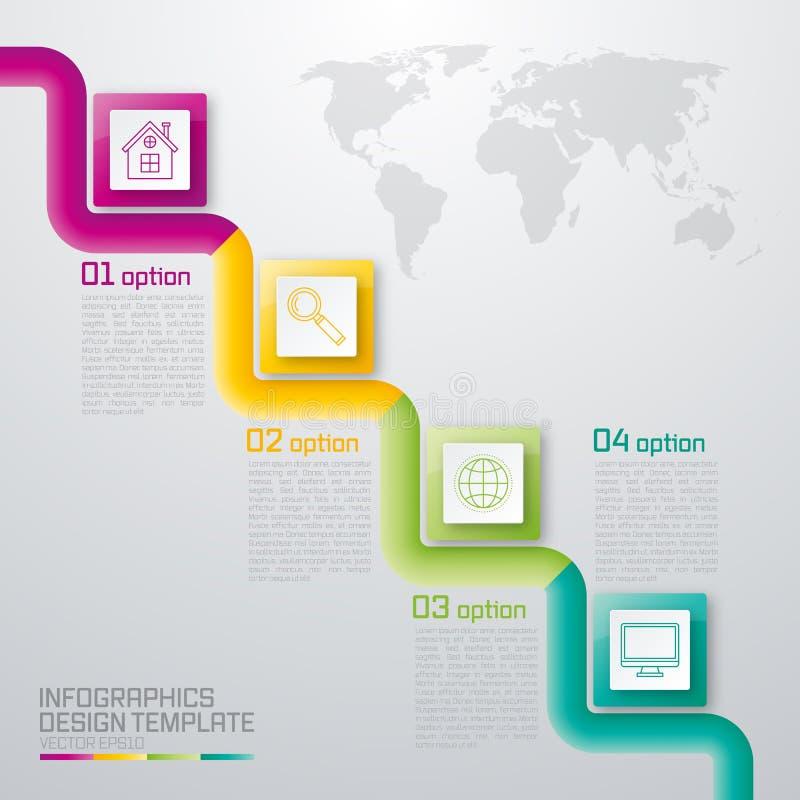 Un'illustrazione di vettore del infographics quadrato quattro illustrazione vettoriale