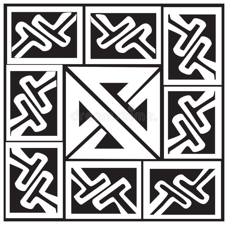 Un'illustrazione di vettore di un reticolo e di un nodo celtici illustrazione di stock