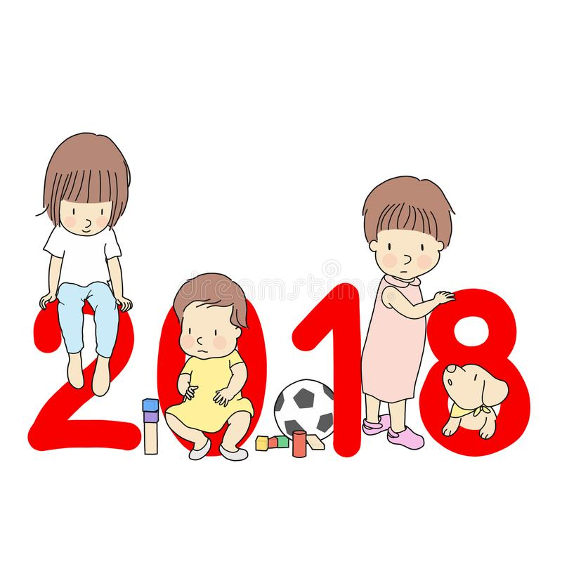 Un'illustrazione di vettore di progettazione della cartolina d'auguri di 2018 buoni anni Bambini con il numero rosso 2018, blocco illustrazione vettoriale